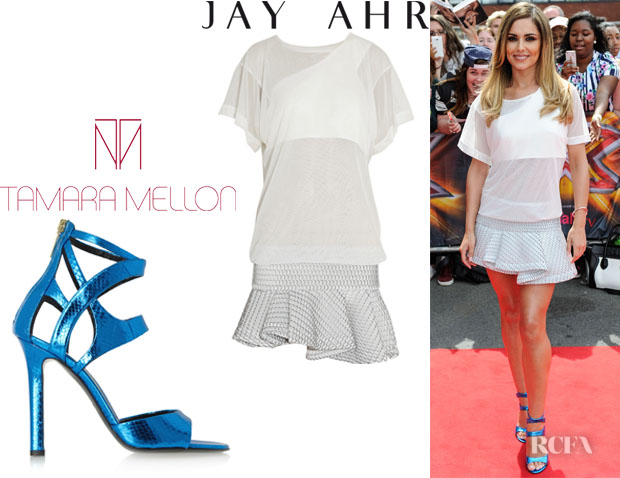 Cheryl Cole's Jay Ahr Stretch And Honeycomb-Mesh Mini Dress And Tamara Mellon 'Fatale' Metallic Sandals