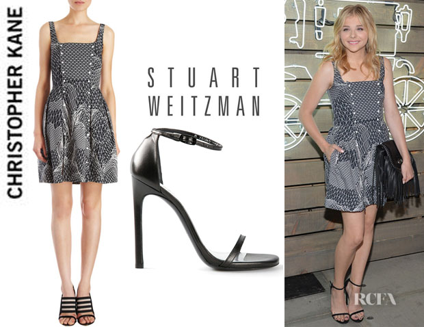 Chloe Grace Moretz' Christopher Kane Geometric Line Print Tank Dress And Stuart Weitzman 'Nudist' Ankle-Strap Sandals