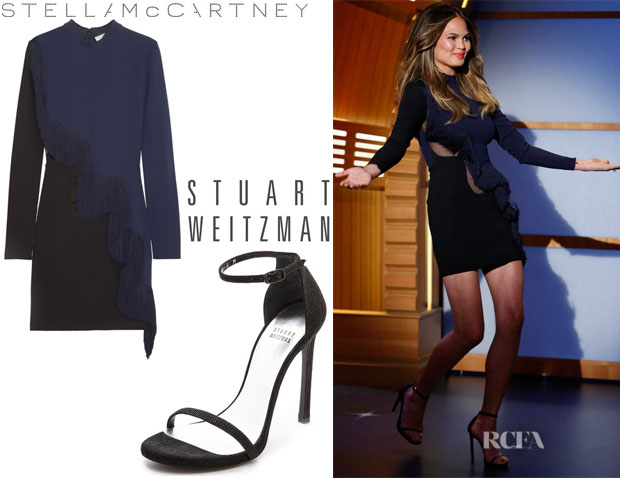 Chrissy Teigen's Stella McCartney 'Alba' Fringed Crepe Mini Dress And Stuart Weitzman 'Nudist' Sandals