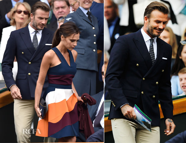 David Beckham In Ralph Lauren & Victoria Beckham In Victoria Beckham - Wimbledon Men's Singles Final