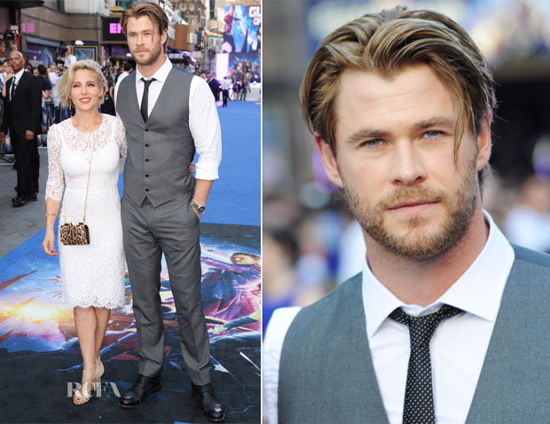 Elsa Pataky and Chris Hemsworth In Dolce & Gabbana - 'Guardians Of The Galaxy' London Premiere
