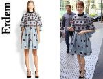 Emma Stone's Erdem Beaded Silk Cape-Back Dress