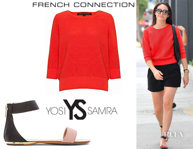 Emmy Rossum's French Connection 'Summer Mozart' Jumper And Yosi Samra 'Cambelle' Two Tone Leather Flats
