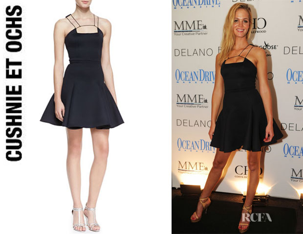 Erin Heatherton's Cushnie et Ochs String-Strap-Detail Flounce Dress