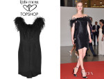 Eva Herzigova's Kate Moss for Topshop Feather-Trimmed Slub Dupion Mini Dress