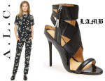 Gwen Stefani In ALC & LAMB Reina Sandals  - Locanda Locatelli Restaurant