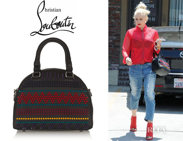 Gwen Stefani's Christian Louboutin 'Panettone' Spiked Textured-Leather Tote