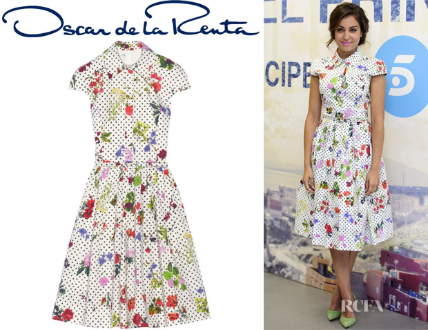 Hiba Abouk's Oscar de la Renta Floral And Dot-Print Cotton Shirt Dress