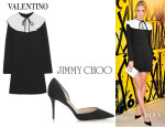 Jaime King's Valentino Ruffle-Trimmed Crepe Mini Dress And Jimmy Choo 'Addison' Pumps