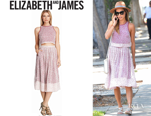 Jamie Chung's Elizabeth and James 'Avenue' Floral Silk Skirt And Elizabeth and James 'Kartin' Floral Silk Top