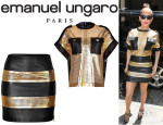 Jennifer Lopez' Emanuel Ungaro Metallic Leather Laser Cut Top And Emanuel Ungaro Metallic Leather Laser Cut Skirt