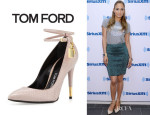Jennifer Lopez' Tom Ford Python Lock Pointed Toe Pumps