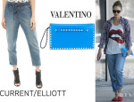 Jessica Alba's CurrentElliott The Drawstring Lounge Trousers And Valentino 'Rockstud' Clutch