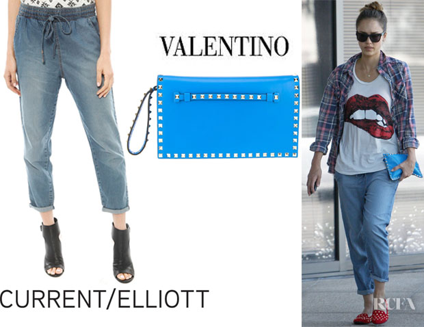 Jessica Alba's Current/Elliott The Drawstring Lounge Trousers And Valentino 'Rockstud' Clutch