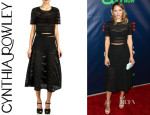 Katharine McPhee's Cynthia Rowley Paneled Crop Top And Cynthia Rowley Paneled Midi Skirt