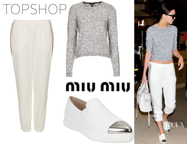 Kendall Jenner's Topshop Space Dye Jumper, Topshop Rib Side Stripe Joggers And Miu Miu Metal Captoe Slip-on Sneakers