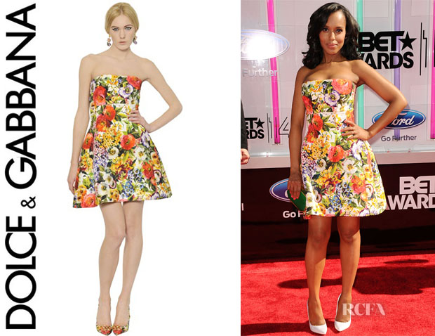 Kerry Washington's Dolce & Gabbana Strapless Brocade Dress