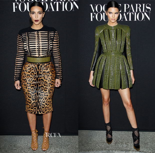 Kim Kardashian & Kendall Jenner In Balmain - Vogue Foundation Gala