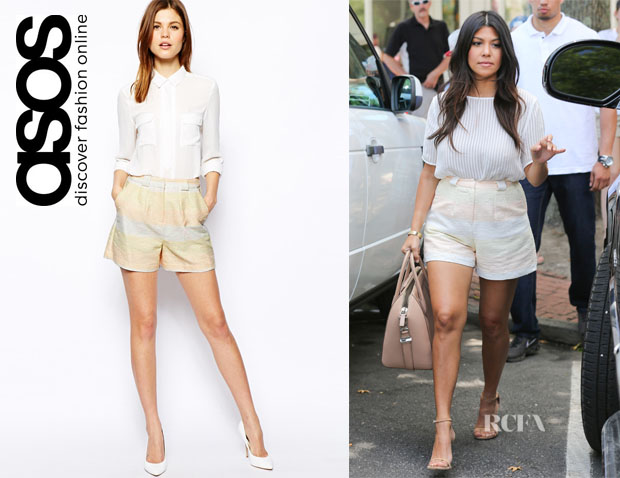 Kourtney Kardashian's ASOS Metallic Pastel Stripe Shorts