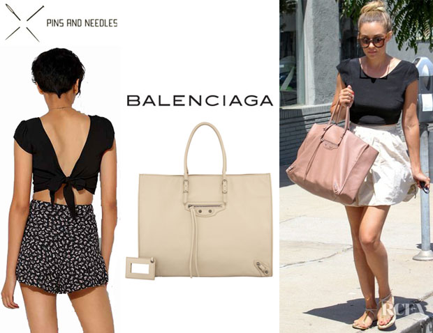 Lauren Conrad's Pins And Needles Tie-Back Cap-Sleeve Blouse And Balenciaga 'Papier A4' Leather Tote