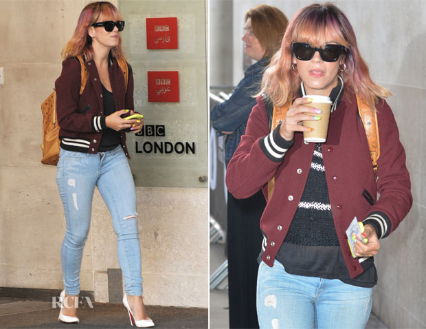 Lily Allen In Saint Laurent & Frame Denim - BBC Radio 1 Studios
