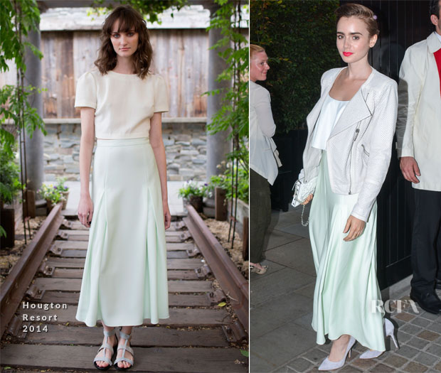 Lily Collins In Houghton - Chiltern Firehouse