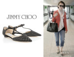 Lily Collins' Jimmy Choo 'Tango' Suede Flat Pumps