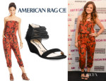 Lucy Hale's American Rag Strapless Tie-Dye-Print Jumpsuit And American Rag 'Carllie Demi' Wedge Sandals