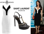 Lucy Liu's Antonio Berardi Mesh Front Body-Con Dress And Saint Laurent 'Alice' Platform Sandals