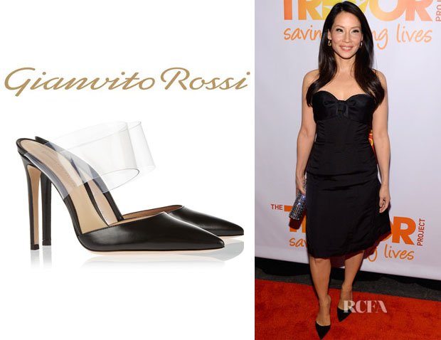 Lucy Liu's Gianvito Rossi Leather And PVC Pumps