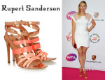 Maria Sharapova's Rupert Sanderson Strappy Metallic Leather Sandals1