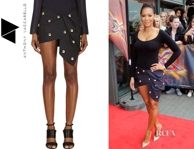 Mel B's Anthony Vaccarello Studded Knot Skirt