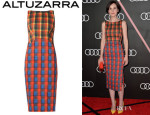 Michelle Dockery's Altuzarra 'Shadow' Multi-Check Sheath Dress
