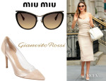Miranda Kerr's Miu Miu Cat-Eye Sunglasses And Gianvito Rossi Plexi PVC Cap-Toe Pumps
