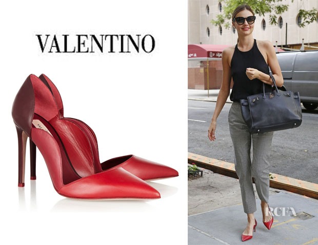 Miranda Kerr's Valentino Scalloped Leather Pumps