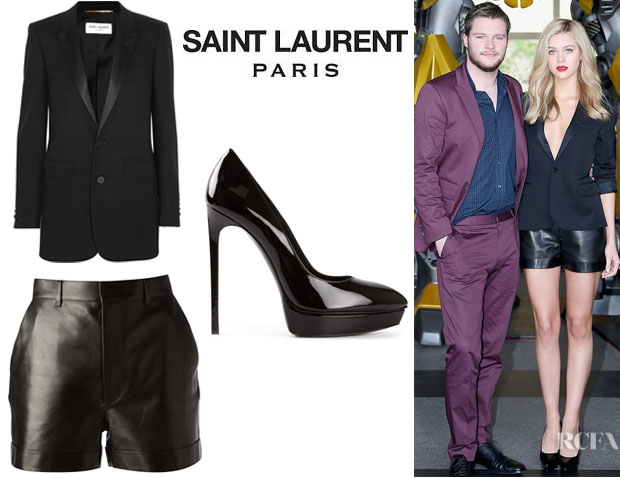 Nicola Peltz' Saint Laurent Satin-Trimmed Tuxedo Jacket, Saint Laurent Leather Shorts And Saint Laurent 'Janis' Pumps