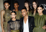 Kim Kardashian, Olivier Rousteing and Kendall Jenner in Balmain