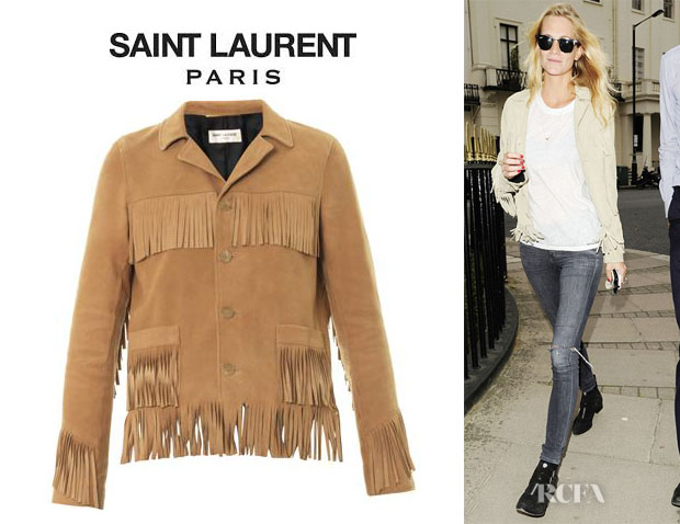 Poppy Delevingne's Saint Laurent Suede Fringe Jacket