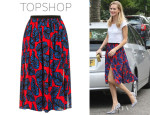 Poppy Delevingne's Topshop Leaf Print Spliced Midi Skirt