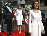 Queen Letizia of Spain In Felipe Varela Atelier - King Felipe VI Proclamation Ceremony