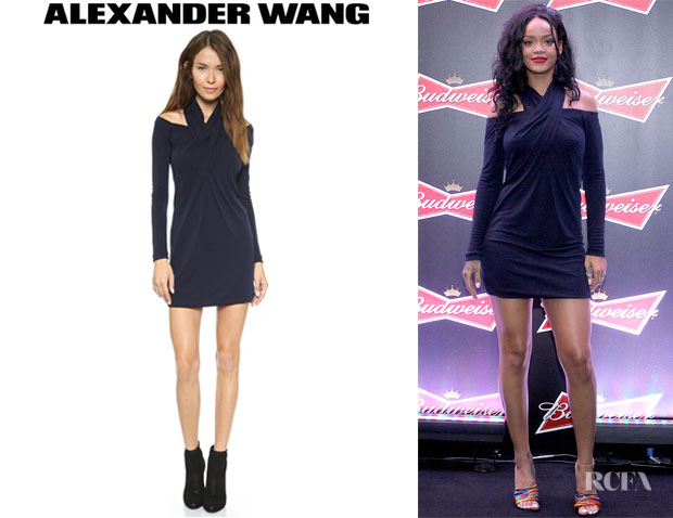 Rihanna's Alexander Wang Long Sleeve Shoulderless Dress