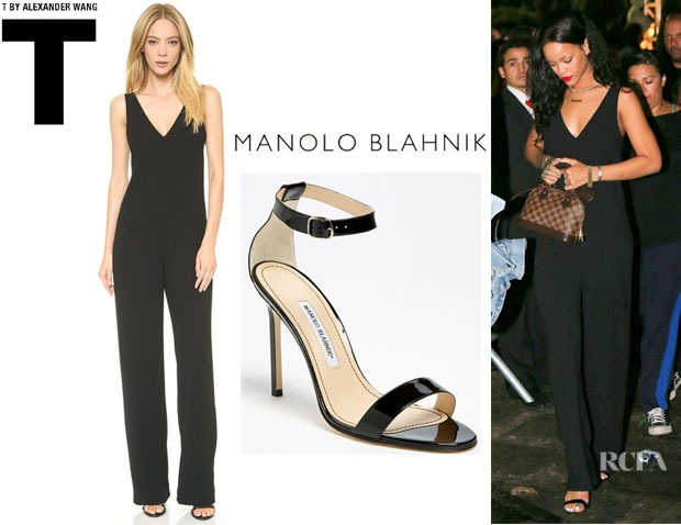 Rihanna's T by Alexander Wang V Neck Strap Romper And Manolo Blahnik 'Chaos Cuff' Sandals