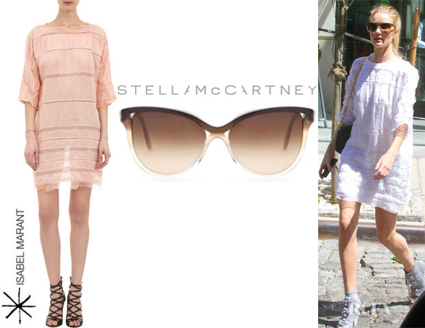 Rosie Huntington-Whiteley's Isabel Marant 'Odrys' Dress And Stella McCartney Ombre Acetate Cat-Eye Sunglasses
