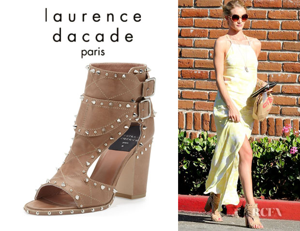 Rosie Huntington-Whiteley's Laurence Dacade Studded Two-Buckle Sandals copy