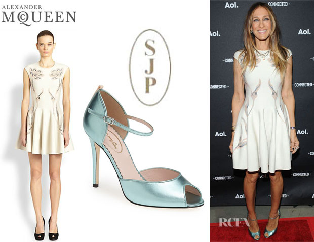 Sarah Jessica Parker's Alexander McQueen Tulip Print Dress And SJP by Sarah Jessica Parker 'Ursula' Open Toe Pumps