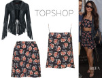 Selena Gomez' Topshop by Kate Moss Fringed Leather Jacket, Topshop Navy Floral Shorts And Topshop Navy Floral Cami
