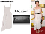 Tatiana Maslany's Cushnie et Ochs Asymmetric Draped Wool-Crepe Dress And L.K
