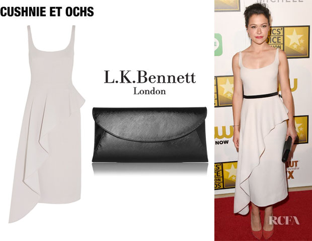Tatiana Maslany's Cushnie et Ochs Asymmetric Draped Wool-Crepe Dress And L.K. Bennett 'Flo' Clutch