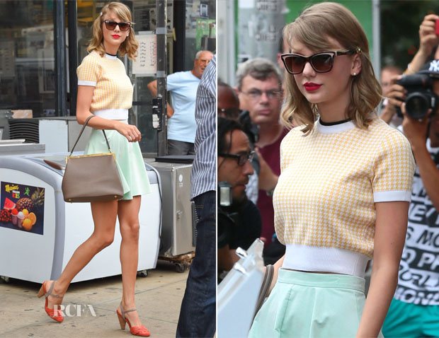 8c08c05d173 Taylor Swift In Miu Miu   Topshop - Out In New York City - Red ...