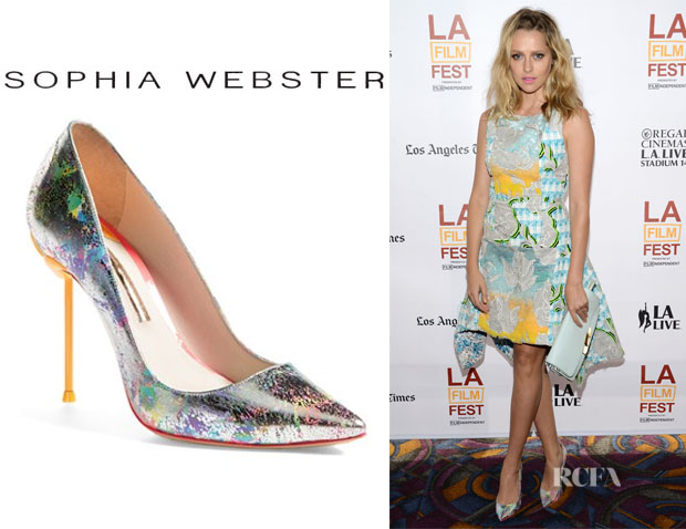 Teresa Palmer's Sophia Webster 'Coco' Rainbow Pumps